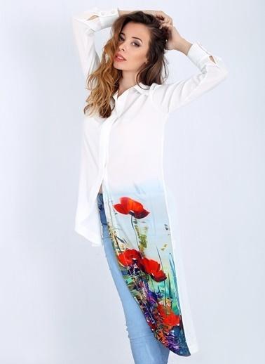 Çiçek Desenli Uzun Şifon Gömlek-Soie Design